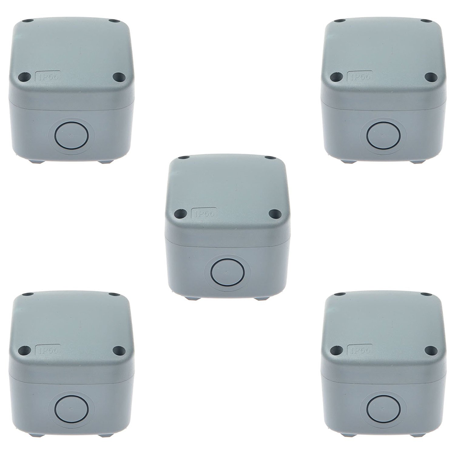 GREENCYCLE 5 Pack IP66 Rated Plastic Weatherproof Junction Box Fit for Outdoor Use, 867462mm