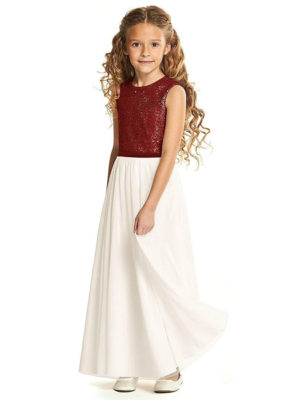 SlenyuBridal Girls Flower Girl Dresses Long Junior Birdesmaid Dress