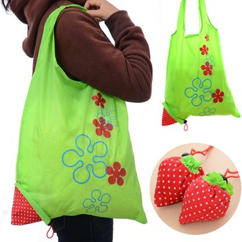 190T polyester wholesale custom creative strawberry folding waterproof shopping bag