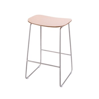 Modern silver stainless steel wooden display stool for apple store experience