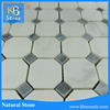 Octagon Oriental White Marble With Blue Marble Strip Swimming Pool Cheap Mosaic Tiles White Marble