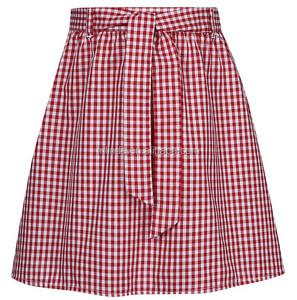 Belted Gingham Skirt school mini skirt