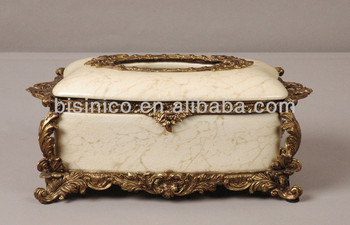 Rectangular Porcelain Tissue Box With Cover Luxury Decorative Case Bronze Mounted Edge