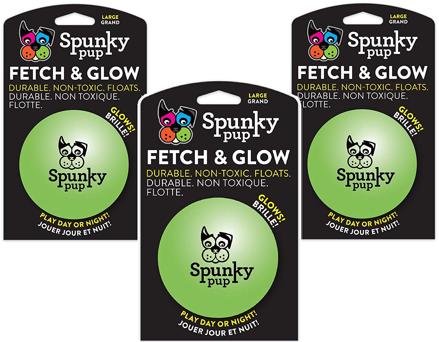 Spunky Pup (3 Pack Fetch and Glow Ball - Large [Colors Vary]