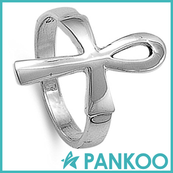 Mens 925 Sterling Silver Ankh Ring