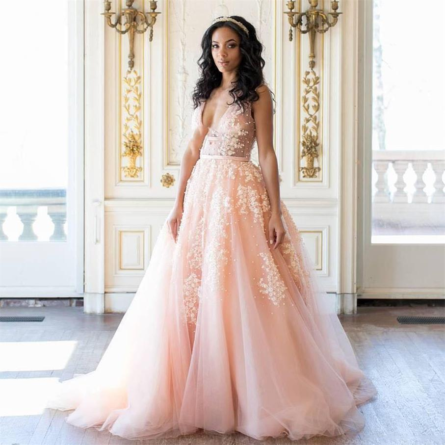 c217f5cc001b0 sexy deep v neck long peach wedding dresses with applique beads 2017 a line  backless court