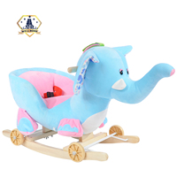 Blue elephant cheap wooden freewheel rocking toy with soft in China
