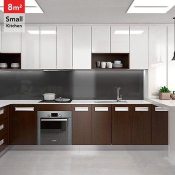 Brown And White Painting Laminate Faced Mdf Kitchen Cabinet Door