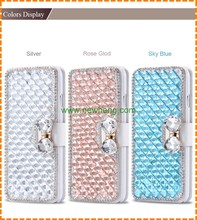 Luxury Bling Crystal Bowknot Diamond stand flip pu leather wallet case for iphone 7
