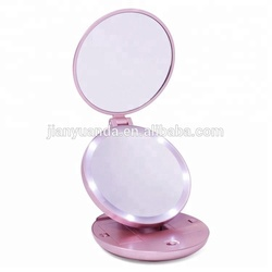 Double side round makeup mirror pocket led travel mirror
