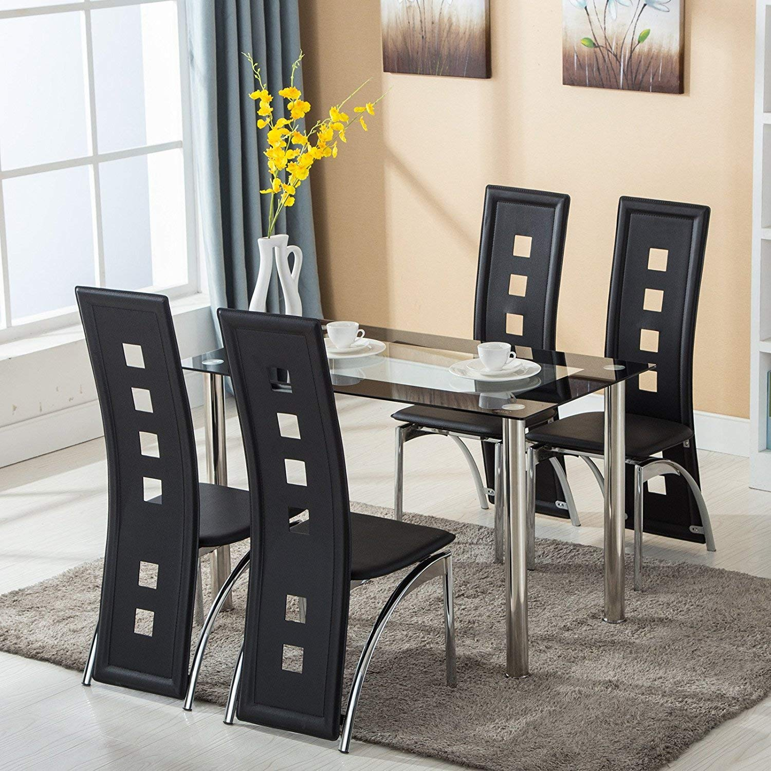 Factory Price Heavy Duty Dining Tables Set Glass Top Table And 4