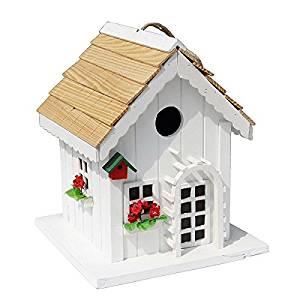 Decorative Wood House Bird Feeder W/ Red Trim Outdoor Decor For Garden  Backyard Tree Or