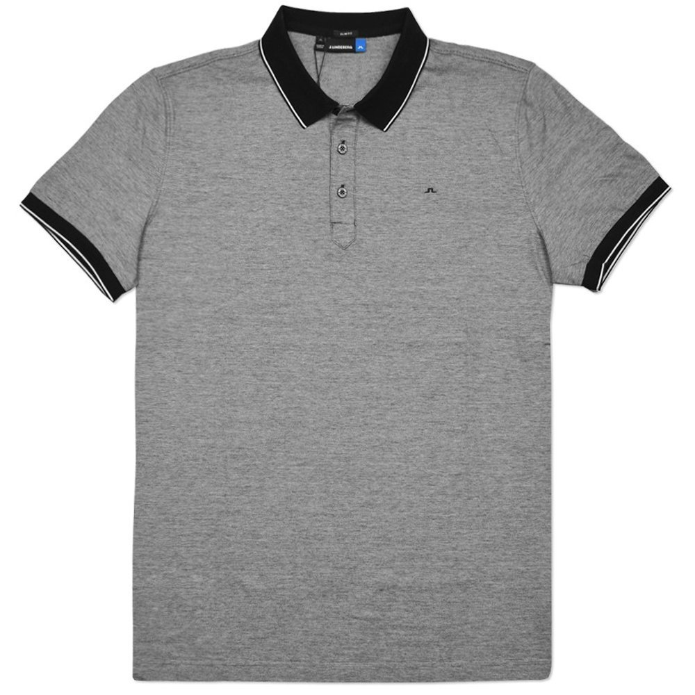 J.Lindeberg M Regis Slim Lux Stripe Jersey Golf Polo, Black, Medium