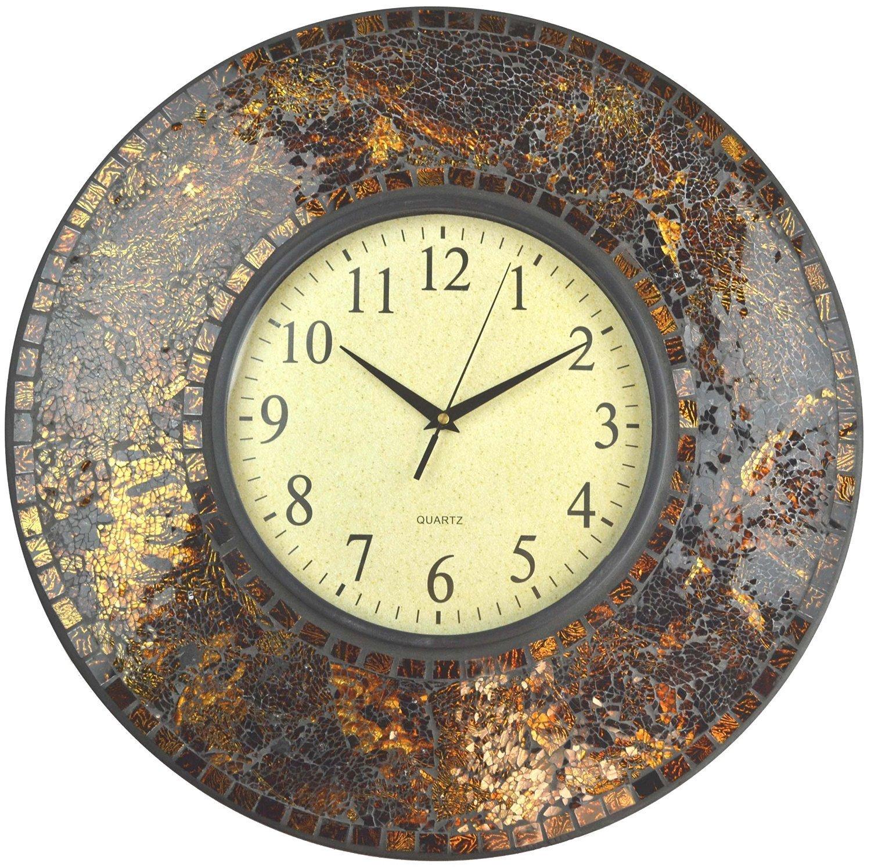 "Lulu Decor, 19"" Amber Crush Mosaic Wall Clock, Glass Dial, 4.50"" Mosaic Border, Dial 9"", Silent Non-ticking Quartz, Perfect for Housewarming Gift (LP71)"