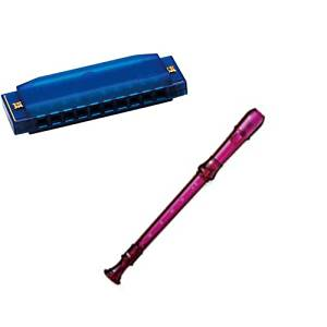 My First Recorder / Harmonica Pack -BPA FREE Purple Translucent Recorder w/Blue Hohner Harmonica