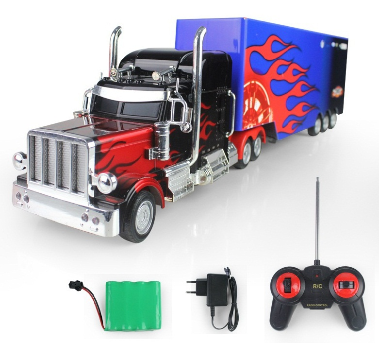 Get Quotations · RC Truck Domineering US Truck High Simulate Remote Control  Flames Truck Trailer With Detachable Container Electronic Amazing Pictures