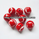 Curved Flower Red Round Ball Beads