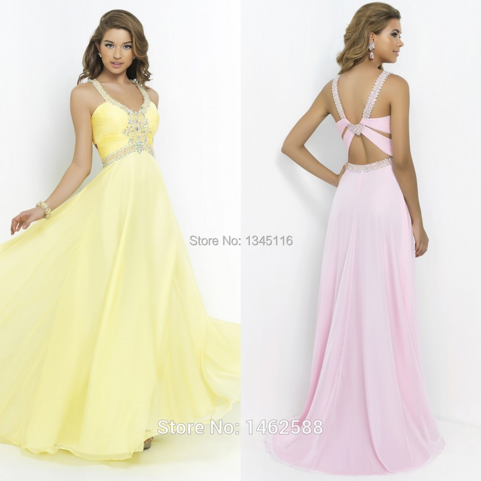 Pink Yellow Prom Dress Long Chiffon Open Back Evening Formal Gowns With Crystal Beaded 2015 New Arrival Vestidos de fiestas