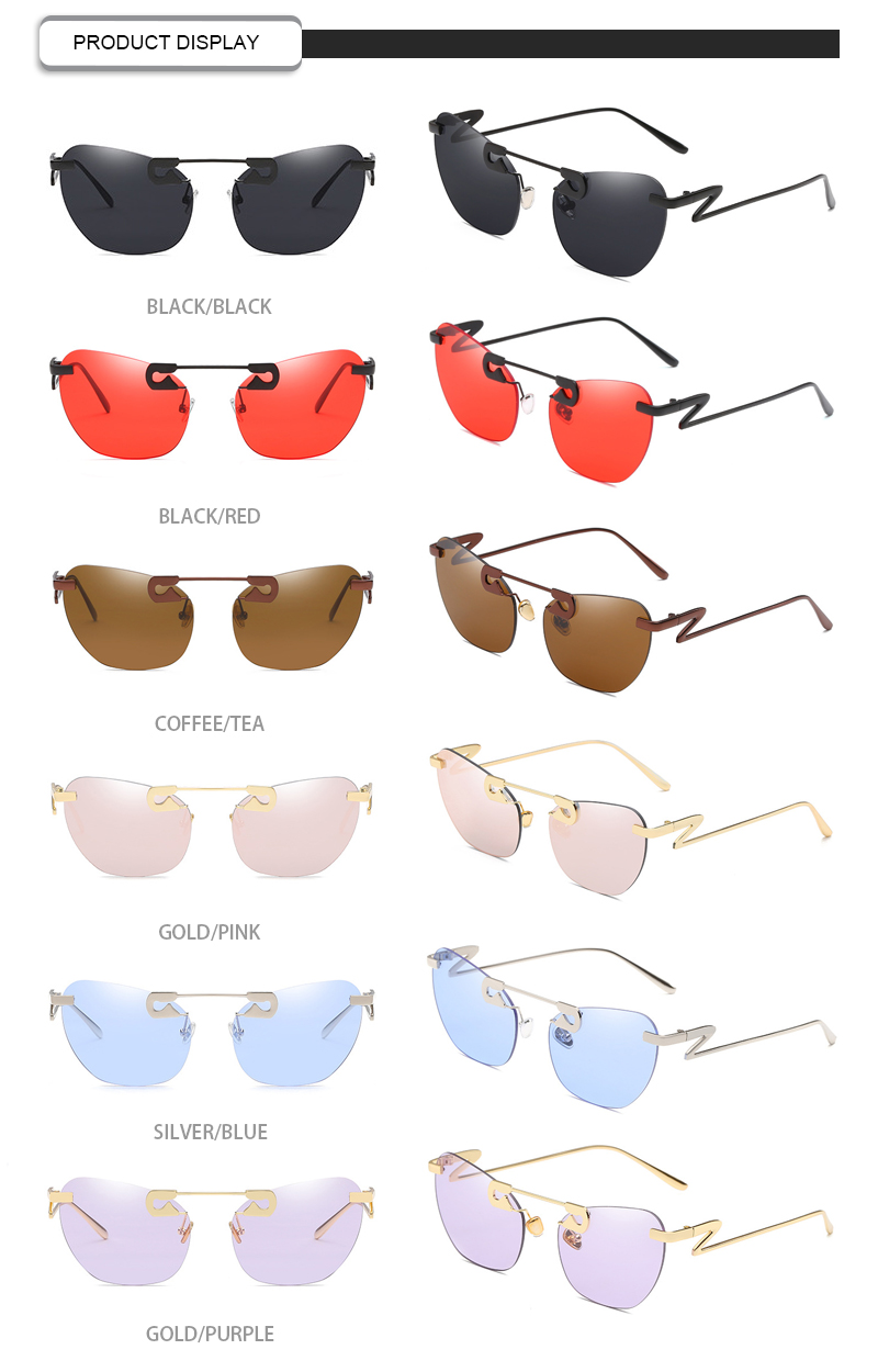 Brand Designer OEM Small Pin-Up Metal Frame Rimless Ladies Sunglasses
