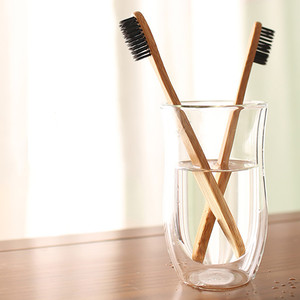 Ready to ship Wholesale 100% biodegradable bamboo charcoal Korean kid disposable toothbrush