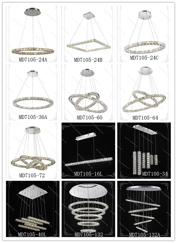 Double round rings modern led crystal chandelier 60W nature white 4000K