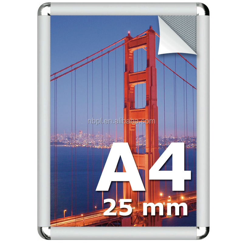 Hot-seller aluminum snap frame snap closed frame a4 25mm photo poster frame 50x70