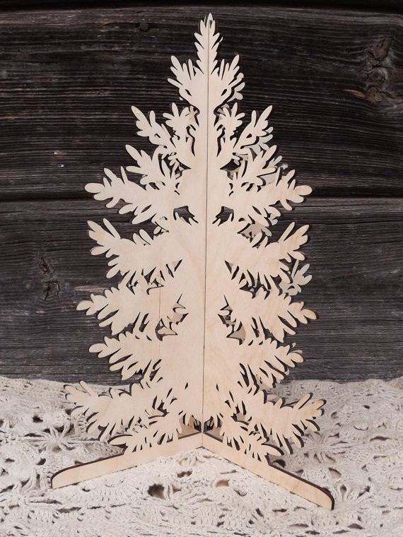 laser cut 3D slot together plywood Christmas tree