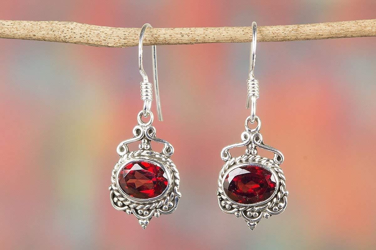 e455ae73c Get Quotations · Garnet Earring, 925 Sterling Silver, Healing Earrings,  Hippie Earrings, Drop Dangle Earrings