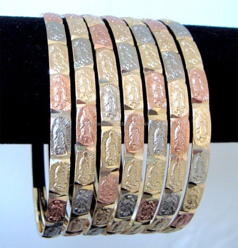 7 Bangle Set Virgin Mary Design Semanario 3 Tone Gold Plated Bracelet Bangles