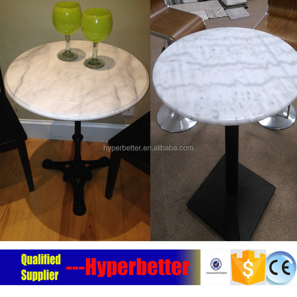 Good quality metal flower table with white marble table top
