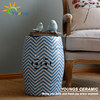 European style blue black stripes design ceramic stool side tables for living room