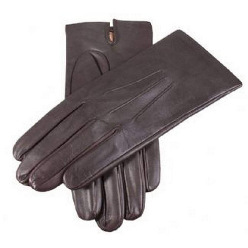 Dents Mens Plain Silk Lined Leather Gloves - Brown