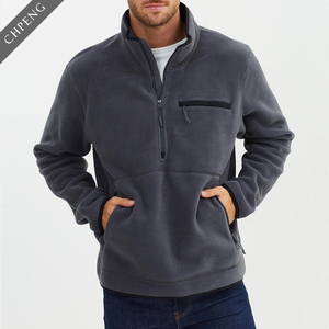 china wholesale men's sherpa hoodie with high neck zip soft front kangaroo pockets pullover