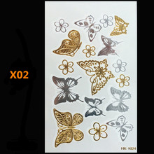 Frete grátis body art ouro jóias brilhantes tatuagens impermeável tatuagem temporária tatuagem mulheres flash falso braço de metal