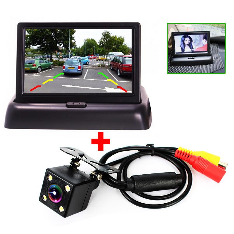 Автопарк помощь новый из светодиодов ночного видения CCD камера заднего вида с 4.3 дюймов цвет жк-автомобиль жк-складной монитор камеры