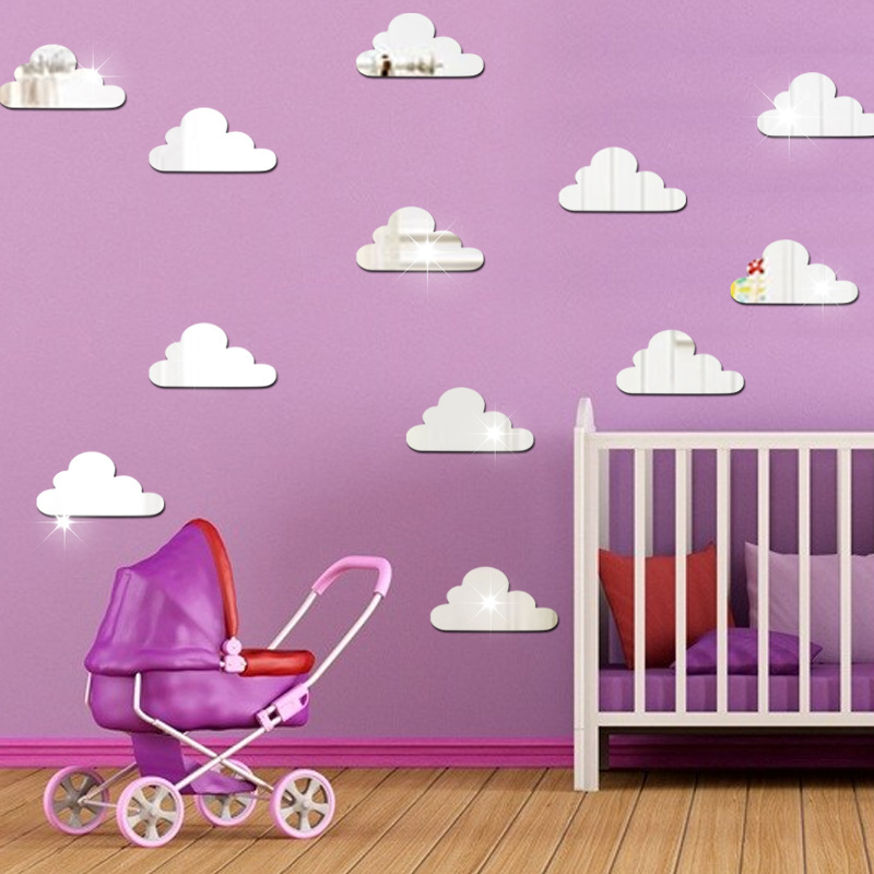 10Pcs/lot 3D Acrylic Mirror Wall Sticker Cartoon Clouds Stickers Decals Kids Bedroom