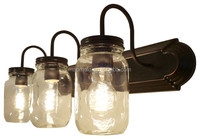 Clear Quart Mason Jar Vanity Fixture wall light glass shade