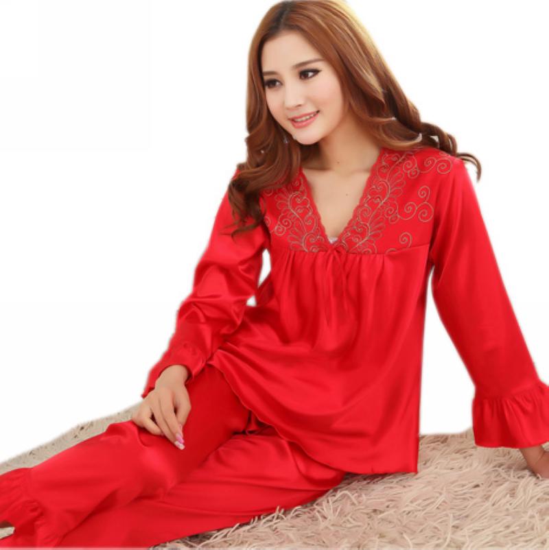 6be3e75887 Buy Fashion Women Silk Pajamas Set Spring Summer Solid Red Bride Satin  Nightwear Printed Hot Sale Long Sleeves Pajamas M