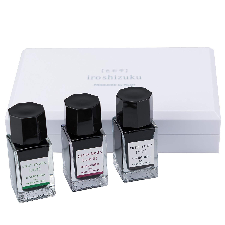 Pilot Iroshizuku Fountain Pen Ink 3 Mini Bottle Fall Set, 15 mL Each, Shin-ryoku, Yama-budo, Take-sumi (69230)