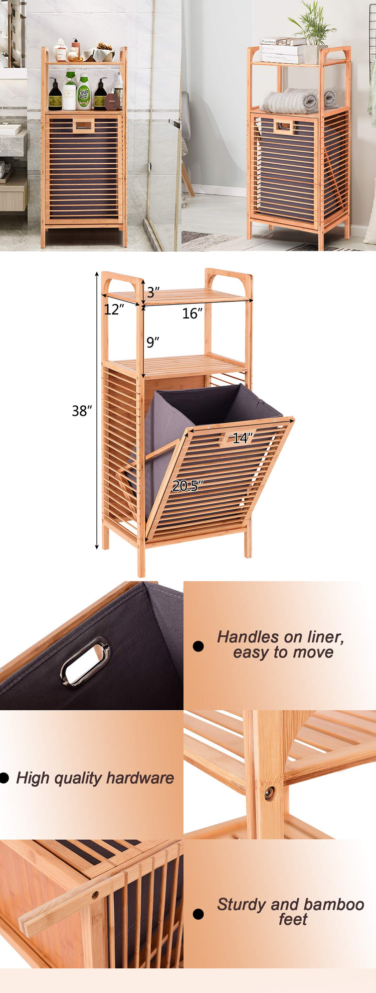 Removable Bamboo Laundry Hamper Slat Frame Space Saving Storage With Shelf