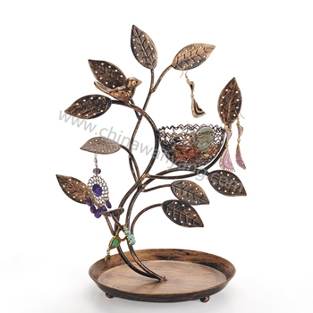 Bird Nest Jewelry Tree Earring Holder Bracelet Stand Round Plate
