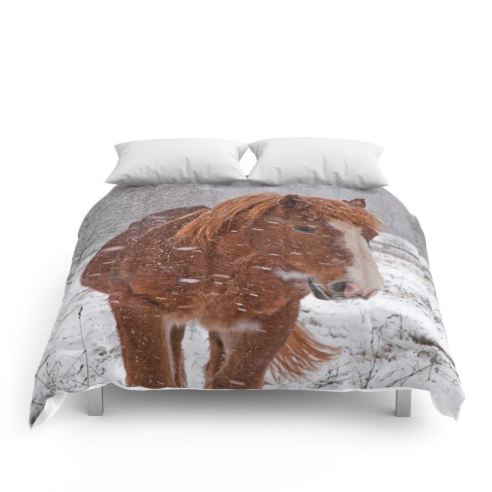 """Society6 Horse In The Snow Comforters King: 104"""" x 88"""""""