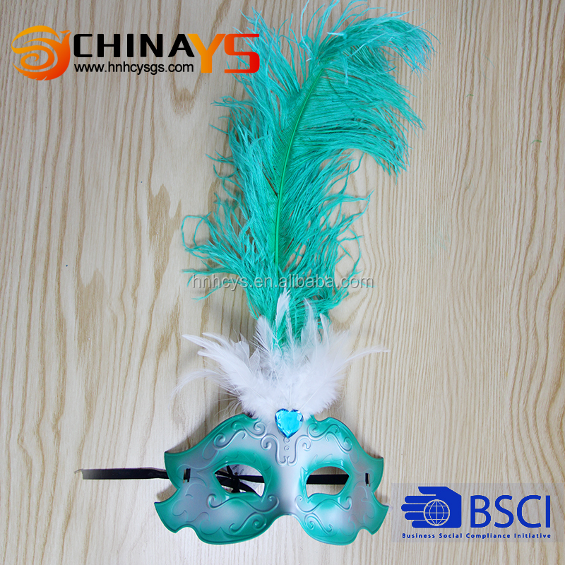 BSCI Ostrich feather YS5464 blue diamend mardi gras masks for dance, party hot selling on promotion