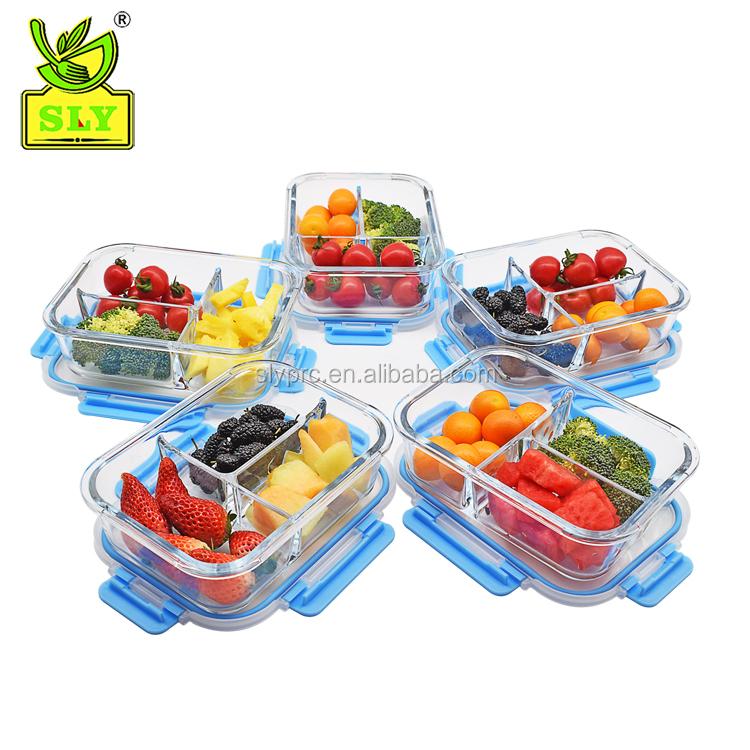 Contenedores de preparaci/ón de comidas de vidrio 2 compartimentos Control de la porci/ón con tapas de bloqueo de presi/ón mejoradas Contenedores de vidrio para almacenamiento de alimentos Sin BPA