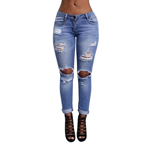 Popular Summer Blue Straight Leg Pants Ripped Women Jeans