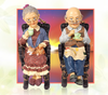 Modern Home sculpture resin craft old Drink tea couple statue