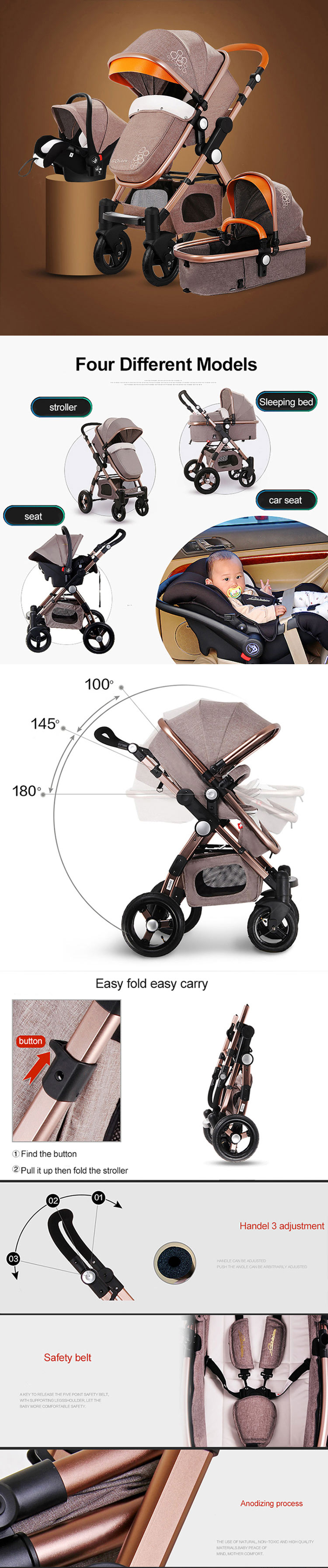 Cheap  magicbebe smart baby stroller/Multi-Functional  Portable BabyDoll  Stroller Pram/Travel  System Baby stroller