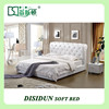 italian design crystal white leather soft bed with stainless steel frame DS-9059