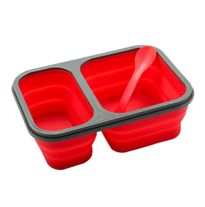 BPA free folding Microwaveable 2 compartments Silicone lunch box with buckle