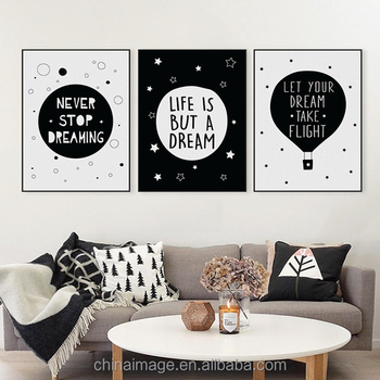 Nordic Black White Typography Dream Life Quotes Wall Art Print Poster  Nursery Wall Picture Living Room